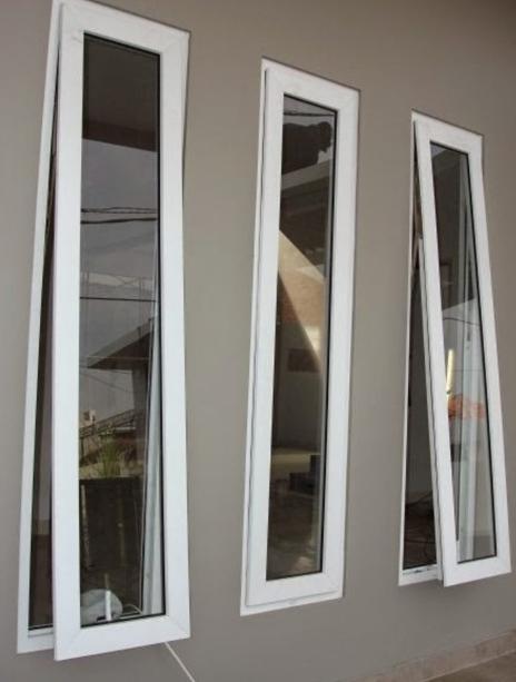 Jendela Aluminium Putih Ramping